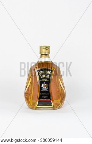 Palma, Mallorca, Spain - April 11 2019: Something Special De Luxe Scotch Whisky Bottle Isolated, Whi