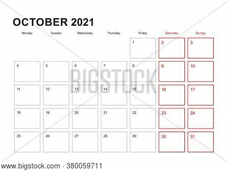 Wall Planner For October 2021 In English Language, Week Starts In Monday. Vector Calendar 2021.