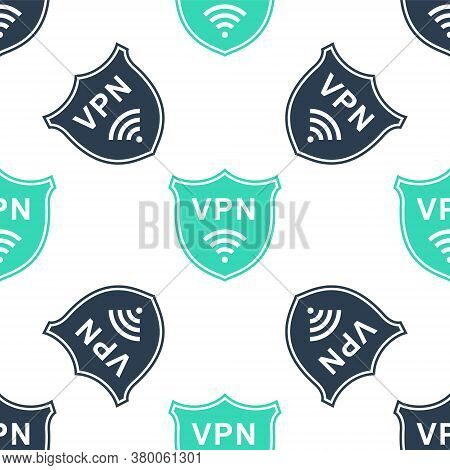 Green Shield With Vpn And Wifi Wireless Internet Network Icon Isolated Seamless Pattern On White Bac
