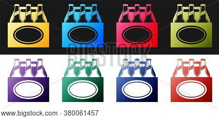 Set Pack Of Beer Bottles Icon Isolated On Black And White Background. Case Crate Beer Box Sign. Vect