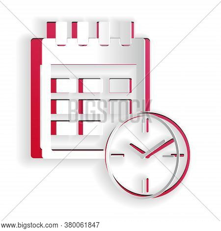Paper Cut Calendar And Clock Icon Isolated On White Background. Schedule, Appointment, Organizer, Ti