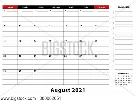 August 2021 Monthly Desk Pad Calendar Week Starts From Sunday, Size A3. August 2021 Calendar Planner