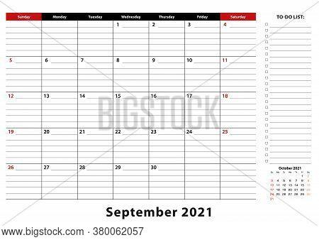 September 2021 Monthly Desk Pad Calendar Week Starts From Sunday, Size A3. September 2021 Calendar P