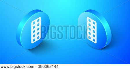 Isometric Pills In Blister Pack Icon Isolated On Blue Background. Medical Drug Package For Tablet: V