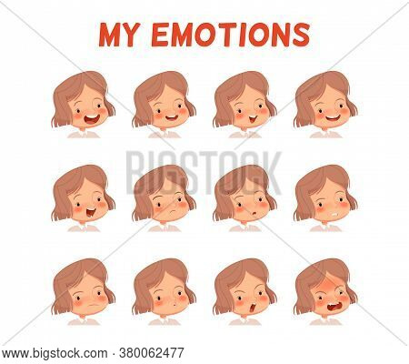 Set Of Different Emotions Of A Girl. Poster For The Development Of Emotional Intelligence In Childre
