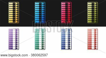 Set Abacus Icon Isolated On Black And White Background. Traditional Counting Frame. Education Sign.