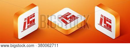 Isometric Office Folders With Papers And Documents Icon Isolated On Orange Background. Archives Fold