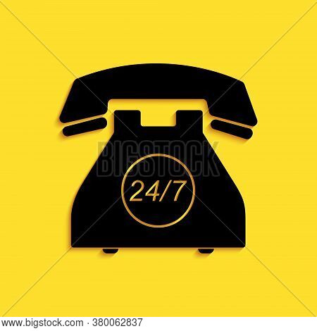 Black Telephone 24 Hours Support Icon Isolated On Yellow Background. All-day Customer Support Call-c