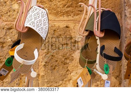 Menorca, Spain - October 14, 2019: Traditional Menorca Sandals (named Avarca) At The Local Store