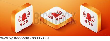Isometric Alarm Bell And Sos Lettering Icon Isolated On Orange Background. Warning Bell, Help Sign.