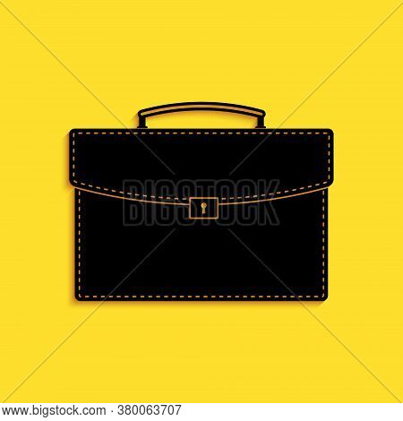 Black Briefcase Icon Isolated On Yellow Background. Business Case Sign. Business Portfolio. Long Sha