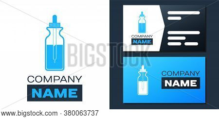 Logotype Glass Bottle With A Pipette. Vial With A Pipette Inside And Lid Icon Isolated On White Back