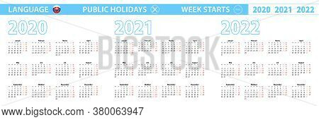 Simple Calendar Template In Slovak For 2020, 2021, 2022 Years. Week Starts From Monday. Vector Illus