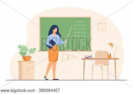 Teacher Standing Near Blackboard And Holding Stick Isolated Flat Vector Illustration. Cartoon Woman