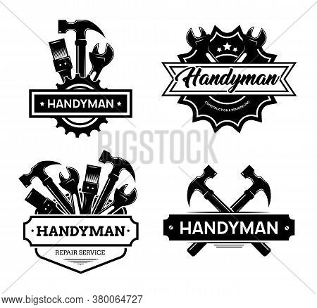 Different Handyman Logo Flat Icon Set. Black Vintage Service Badges With Wrench And Hammer For Mecha