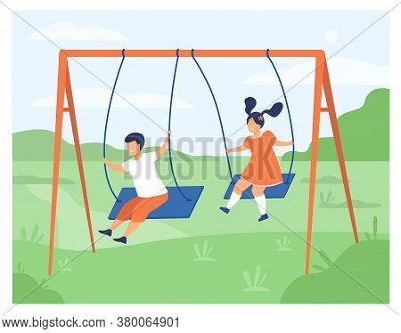 Cute Girl And Boy Swinging And Enjoying Holiday Isolated Flat Vector Illustration. Cartoon Happy Fri