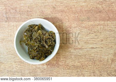 Stir Fried Pickled Mustard Or Gan Lan Cai Chinese Vegetarian Food Made From Cabbage And Black Olive