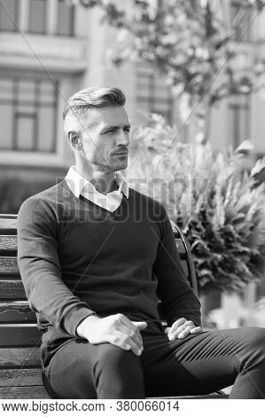 Time For Yourself. Man In Formal Clothes Outfit Relax Sit Bench In Park. Businessman Formal Clothing