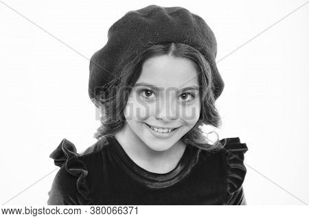Glamour Girl Model. Retro Kid Fashion. Pretty Little Girl Wear Red Barret. Childhood Happiness. Smal