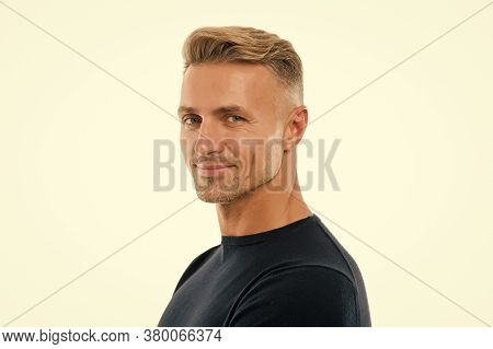 Handsome And Attractive. Handsome Man Isolated On White. Caucasian Guy With Handsome Unshaven Face.