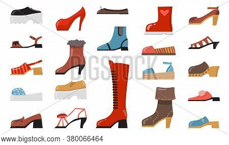 Various Fashionable Footwear Flat Icon Set. Cartoon Stylish Elegant And Casual Shoes, Seasonal Boots