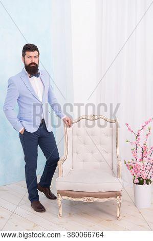 Gentleman Elegant Man Wear Classic Suit Bow Tie, Menswear Boutique Concept.
