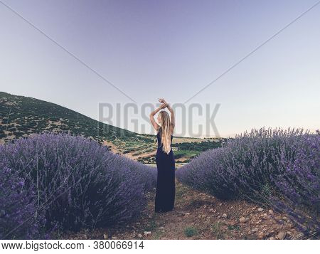 Backside View Of Blonde Caucasian Woman In Lavender Field