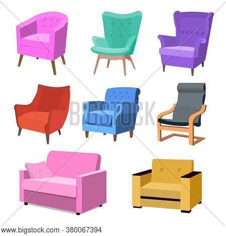 Set Of Modern Colorful Soft Armchair With Upholstery. Armchairs For Room Design Games. Cushioned Fur