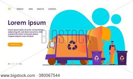 Garbage Collector Cleaning Waste Bin Flat Vector Illustration. Cartoon Man Putting Rubbish For Recyc
