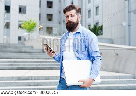 Phone You Always Desired. Bearded Man Use Phone Outdoors. Mobile Phone Messaging. Sms Message. Cell