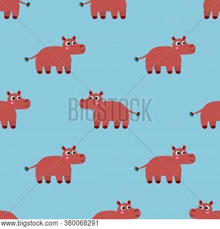 Cute Cartoon Hippo In Flat Style Seamless Pattern. Wild Hippopotamus  Background. Vector Illustratio