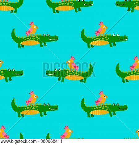 Cute Parrot And Crocodile Seamless Pattern In Flat Childlike Style. Fantasy Animal Background. Vecto