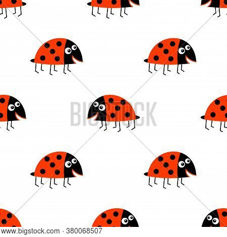 Seamless Pattern With Cartoon Ladybug, Bug In Childlike Flat Style. Insect Background. Vector Illust