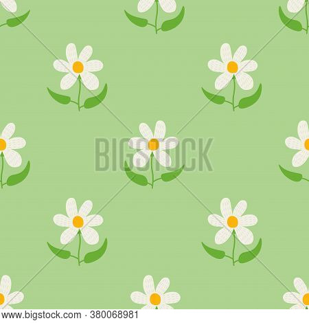 Cute Cartoon Flowers In Childlike Flat Style Seamless Pattern. Floral Background. Vector Illustratio