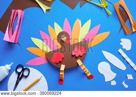 Paper Craft For Kids. Diy Turkey Made For Thanksgiving Day. Create Art For Children