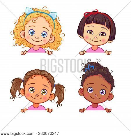 Vector Set Of Multi-ethnic Little Girls Holding A White Banner. Funny Kids Of Different Races With V