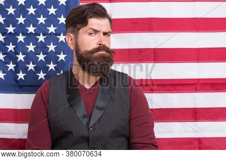 Bearded Man Migrant Apply For Citizenship Usa Flag Background, National Identity Concept.