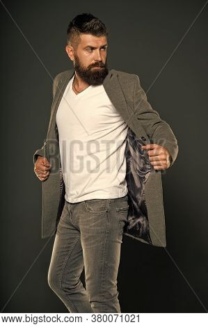 Hipster Wear Comfy Outfit. Caucasian Man With Brutal Appearance. Bearded Man With Moustache And Bear
