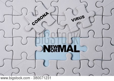 Corona Virus Wording Print Screen On White Jigsaw Puzzle Which After Open Will See New Normal Wordin