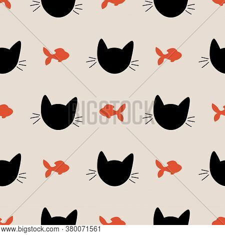 Seamless Pattern With Cute Cat Muzzles And Fish. Animal Polka Dot Background. Feline Wrapping Paper.