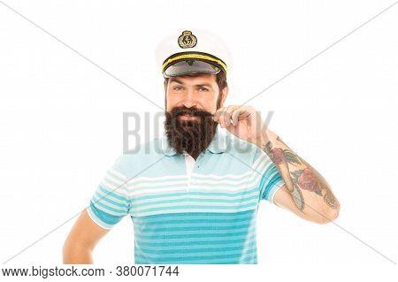 Man Bearded Captain Sailor Uniform Marine Cruise, Ocean Adventure Concept.