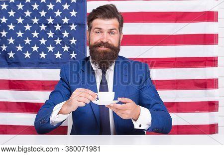 Businessman Formal Suit Handsome Man Drinking Coffee, Americano Beverage Concept.