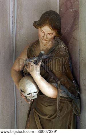 KLANJEC, CROATIA - SEPTEMBER 17, 2012: Holy Mary Magdalene, a statue on the altar of St. Francis of Assisi in the church of the Annunciation of the Virgin Mary in Klanjec, Croatia