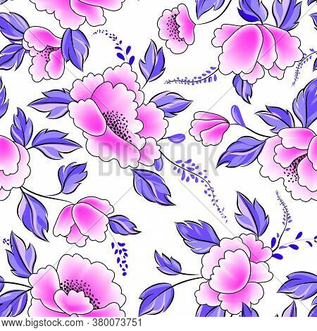 Floral Seamless Pattern. Flowers With Leaves Ornamental Background. Flourish Nature Garden Texture