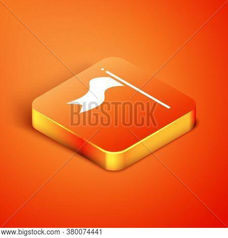 Isometric Meteorology Windsock Wind Vane Icon Isolated On Orange Background. Windsock Indicate The D