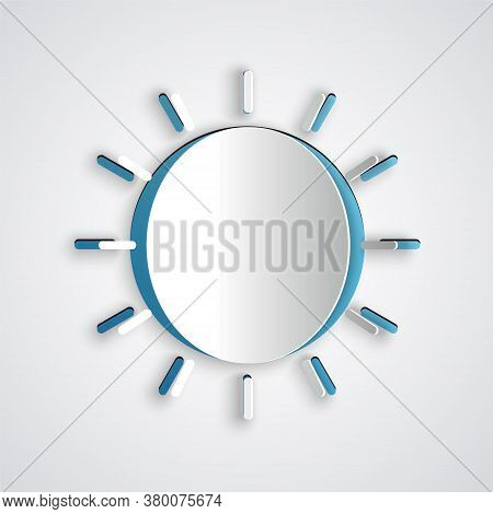 Paper Cut Sun Icon Isolated On Grey Background. Summer Symbol. Good Sunny Day. Paper Art Style. Vect