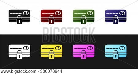 Set Credit Card With Lock Icon Isolated On Black And White Background. Locked Bank Card. Security, S