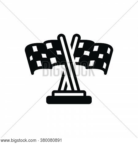 Black Solid Icon For Race-flag Competition Contention Finishing Chequered Signage Champion Runway Mo