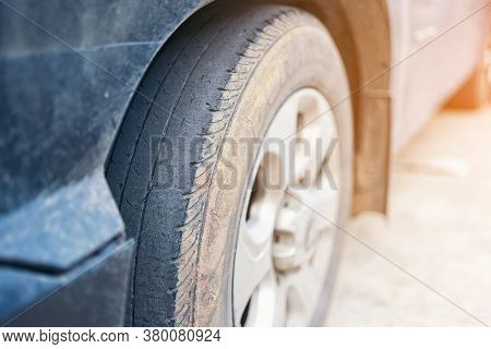 Care Use Unsafe Tire, Change Time For A Front Wheel Rubber Worn, Bald, Black, Old And Low Tread Car