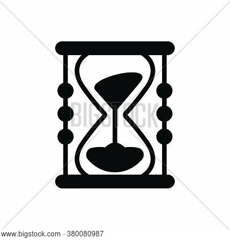 Black Solid Icon For Sands-of-time Sands  Timer Antique Hour-glass Measure Pending Countdown Running